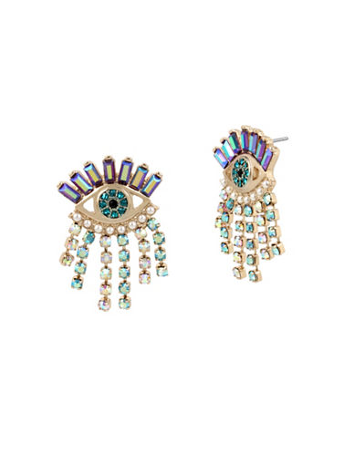 Betsey Johnson Evil Eye & Fringe Drop Earrings-MULTI-One Size