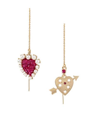 Betsey Johnson White Pearl & Heart Drop Earrings-FUSCHIA-One Size