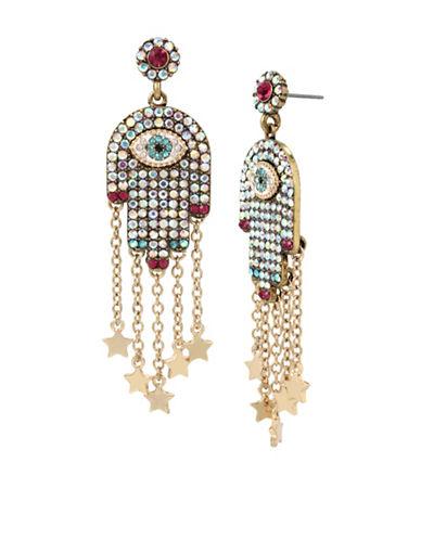 Betsey Johnson Multi-Stone Hamsa Drop Earrings-MULTI-One Size