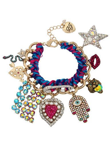 Betsey Johnson Woven Statement Charm Bracelet-MULTI-One Size