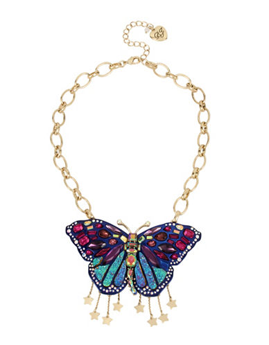 Betsey Johnson Butterfly Pendant Necklace-MULTI-One Size
