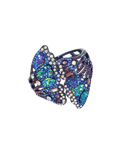 Betsey Johnson Metallic Butterfly Wing Hinged Cuff Bracelet-BLUE-One Size