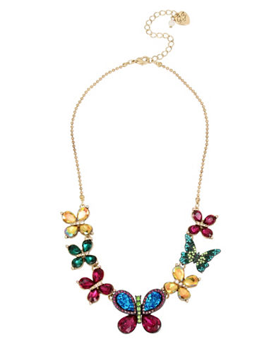 Betsey Johnson Butterfly Frontal Necklace-MULTI-One Size