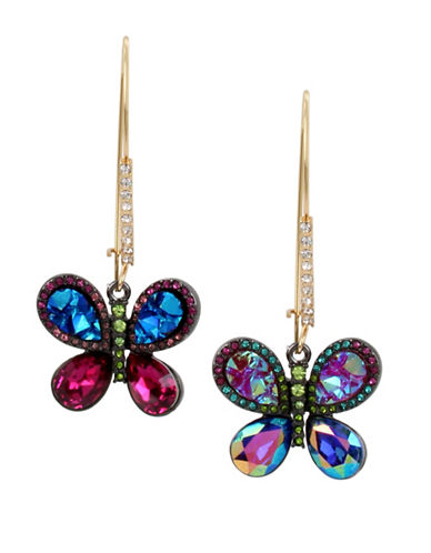 Betsey Johnson Butterfly Pavé Crystal Drop Earrings-ASSORTED-One Size