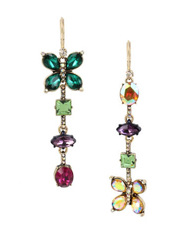 Betsey Johnson Butterfly Linear Drop Earrings-MULTI-One Size