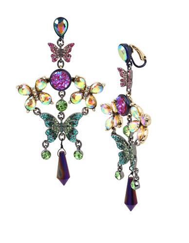 Betsey Johnson Butterfly Chandelier Earrings-MULTI-One Size