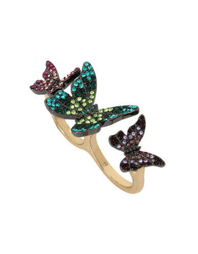 Betsey Johnson Butterfly Pavé Crystal Double Ring-ASSORTED-7
