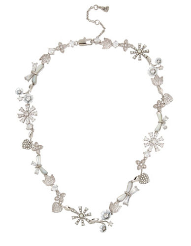 Betsey Johnson Crystal and Silver Flower Collar Necklace-SILVER-One Size