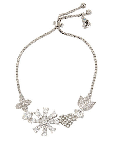 Betsey Johnson Crystal and Flower Friendship Bracelet-SILVER-One Size