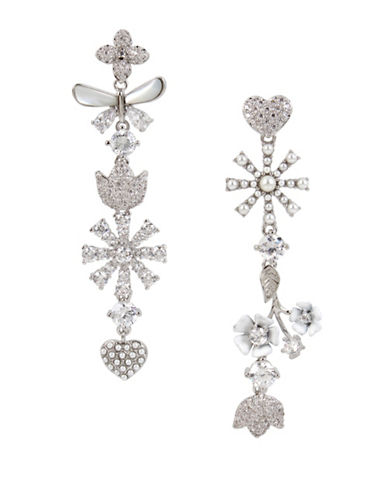 Betsey Johnson Crystal and Flower Linear Drop Earring-SILVER-One Size