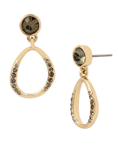 Kenneth Cole New York Semi-Precious Hoop Drop Earrings-GREY-One Size