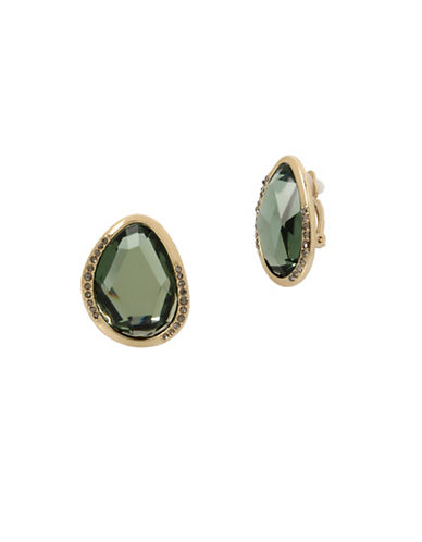Kenneth Cole New York Semi Precious Stone Clip Earrings-GREEN-One Size