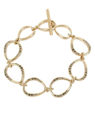 Kenneth Cole New York Black and Gold Tone Link Bracelet-BLACK-One Size