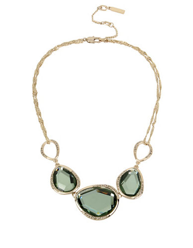 Kenneth Cole New York Green Semi-Precious Frontal Necklace-GREEN-One Size