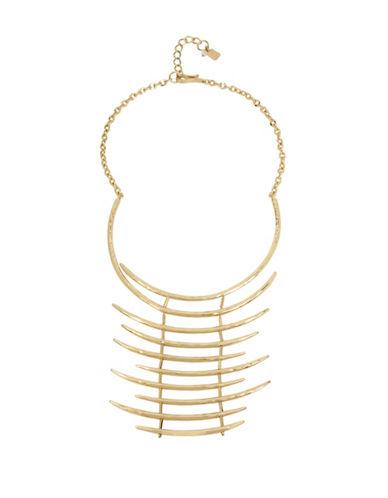 Robert Lee Morris Soho Golden Abalone Hammered Sculptural Ladder Necklace-GOLD-One Size