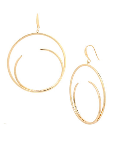 Robert Lee Morris Soho Golden Abalone Hammered Sculptural Hoop Earrings-GOLD-One Size
