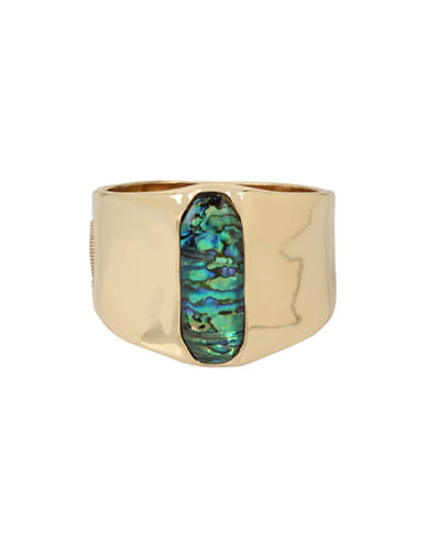 Robert Lee Morris Soho Golden Abalone Hinged Bangle Bracelet-GREEN-One Size
