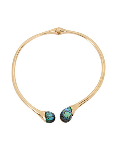 Robert Lee Morris Soho Golden Abalone Faceted Stone Collar Necklace-GREEN-One Size