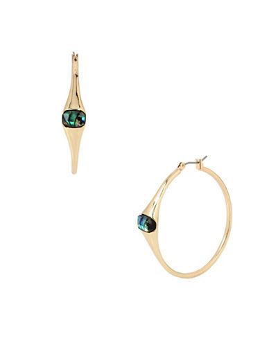 Robert Lee Morris Soho Golden Abalone Faceted Stone Hoop Earrings-GREEN-One Size