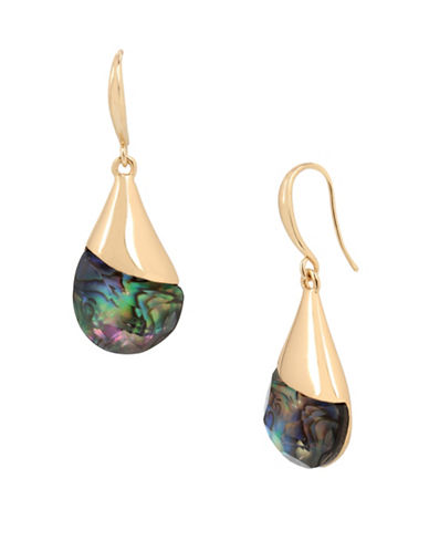 Robert Lee Morris Soho Golden Abalone Faceted Stone Drop Earrings-GREY-One Size