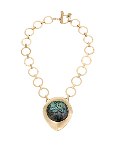 Robert Lee Morris Soho Golden Abalone Faceted Stone Pendant Necklace-GREEN-One Size