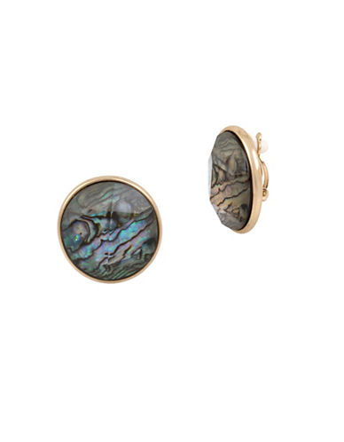 Robert Lee Morris Soho Golden Abalone Faceted Stone Clip-On Earrings-GREY-One Size