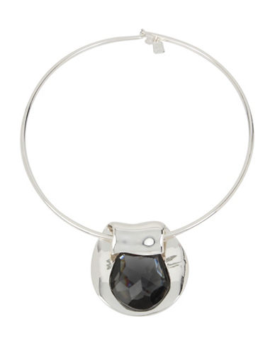 Robert Lee Morris Soho Enfold Black Pendant Necklace-BLACK-One Size