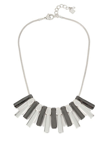 Robert Lee Morris Soho Hematite Sun Ray Frontal Necklace-GREY-One Size