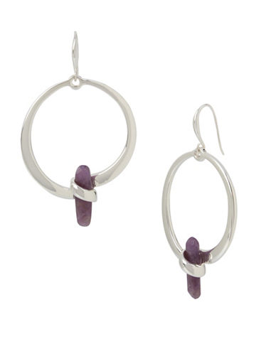 Robert Lee Morris Soho Enfold Amethyst Drop Hoop Earrings-AMETHYST-One Size