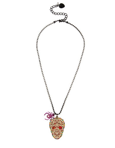 Betsey Johnson Double Skull Pendant Necklace-MULTI-One Size
