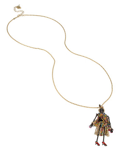 Betsey Johnson Crystal Pendant Necklace-ASSORTED-One Size