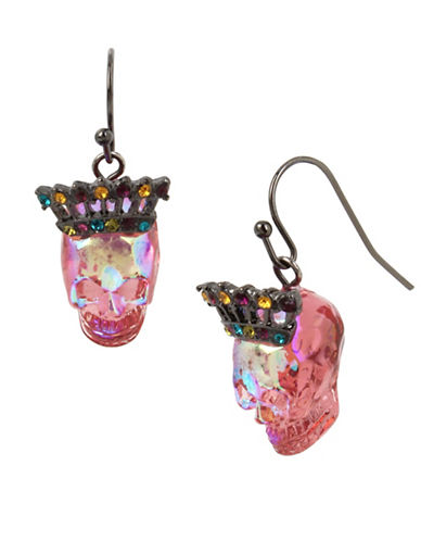 Betsey Johnson Crystal Drop Earrings-PINK-One Size