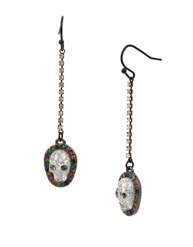 Betsey Johnson Crystal Linear Earrings-GREY-One Size