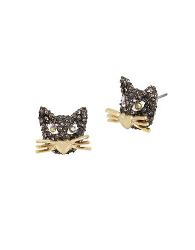 Betsey Johnson Pavé Crystal Stud Earrings-GOLD-One Size