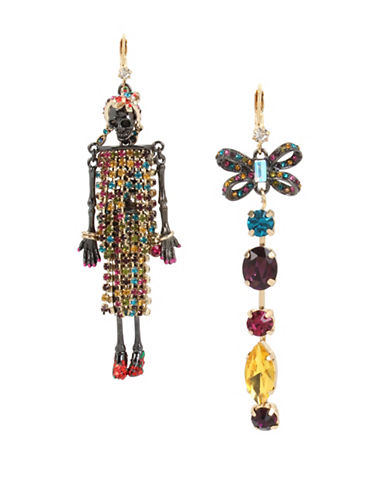 Betsey Johnson Crystal Mismatched Linear Earrings-ASSORTED-One Size