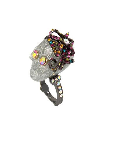 Betsey Johnson Glitter Skull Ring-MULTI-7.5