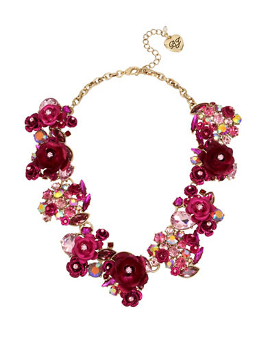 Betsey Johnson Roses & Stones Statement Necklace-PINK-One Size