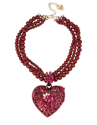 Betsey Johnson Pearl and Crystal Large Statement Flower Heart Pendant Necklace-RED-One Size