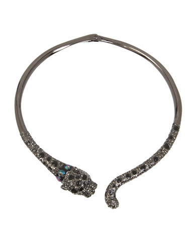 Betsey Johnson Crystal Jaguar Collar Necklace-BLACK-One Size