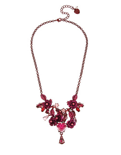 Betsey Johnson Floral & Heart Frontal Necklace-PINK-One Size