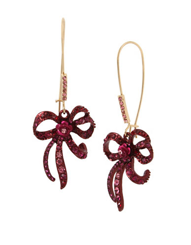 Betsey Johnson Bow Drop Earrings-PINK-One Size