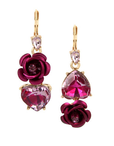 Betsey Johnson Rose Crystal and Stainless Steel Drop Earrings-PINK-One Size