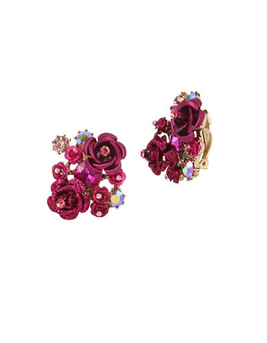 Betsey Johnson Cluster Flower Clip-On Earrings-PINK-One Size