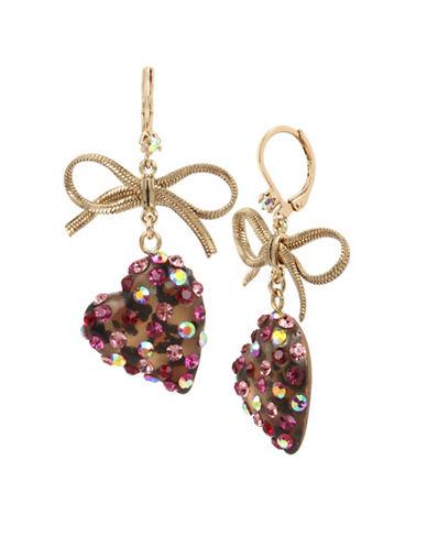 Betsey Johnson Bow & Heart Drop Earrings-PINK-One Size