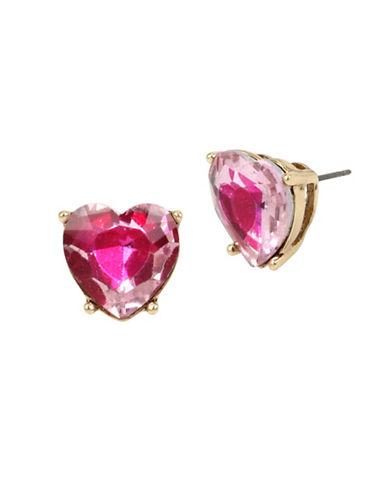 Betsey Johnson Heart Stud Earrings-PINK-One Size