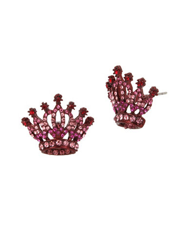Betsey Johnson Crown Stud Earrings-PINK-One Size
