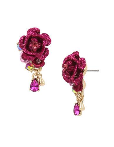 Betsey Johnson Flower & Stone Earrings-PINK-One Size