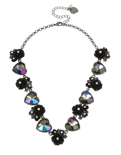 Betsey Johnson Rose Crystal and Stainless Steel Collar Necklace-BLACK-One Size
