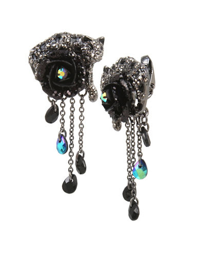 Betsey Johnson Jaguar & Rose Clip-On Earrings-BLACK-One Size