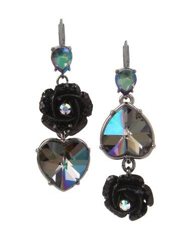 Betsey Johnson Flower & Heart Mismatched Earrings-BLACK-One Size